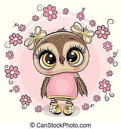 ピンク, フクロウ, 挨拶, 背景, 花, カード