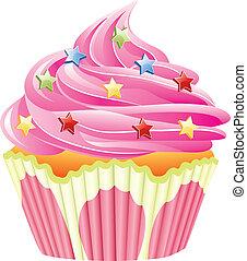 ピンク, ベクトル, 振りかける, cupcake