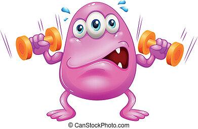 ピンク, モンスター, 脂肪, 運動