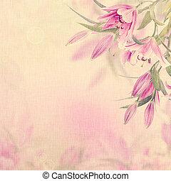 ピンク, ユリ, 背景