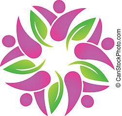 ピンク, ロゴ, チームワーク, leafs, 人々
