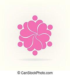 ピンク, ロゴ, 花, チームワーク