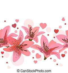 ピンク, 円, ユリ, 作られた, seamless, ボーダー