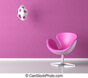 ピンク, 壁, コピー, 内部, スペース