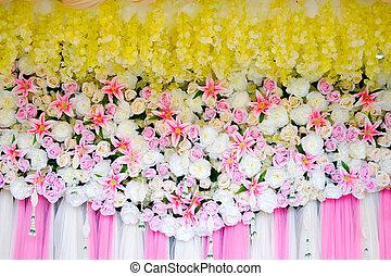 ピンク, 多数, 花, 新たに, 白, 背景