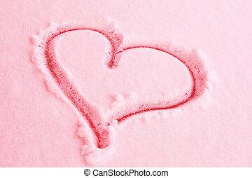 ピンク, 心, 雪