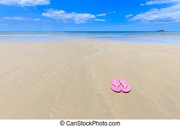 ピンク, 美しい, サンダル, 浜