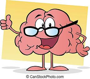 ピンク, 脳, めがねをかける