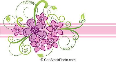 ピンク, 花のボーダー, デザイン