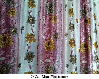 ピンク, 花の印刷, 家, カーテン