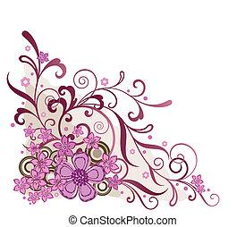 ピンク, 花, コーナー, デザイン要素