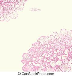 ピンク, 花, フレーム, ベクトル, 広場