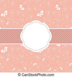 ピンク, 蝶, 挨拶, 春, 花, カード