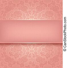 ピンク, 装飾用, レース, 背景, 花, テンプレート