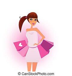 ピンク, 買い物, 女の子, 袋