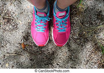ピンク, 靴, 浜の 砂, 床, スポーツ