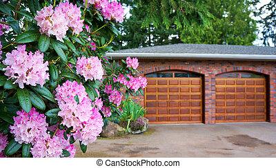 ピンク, door., 低木, 木製である, ダブル, ツツジ, ガレージ