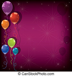 ピンク, eps10, カラフルである, お祝い, バックグラウンド。, ベクトル, 風船