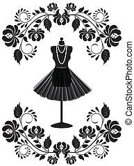 ファッション, フレーム, ネックレス, マネキン, 花, スカート, カード