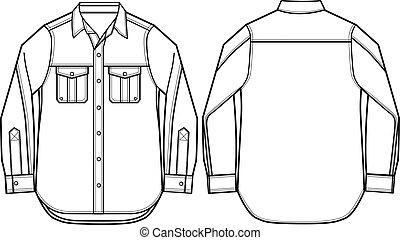 ファッション, ワイシャツ, イラスト, 男性