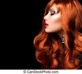 ファッション, 波状, hair., 肖像画, 女の子, 赤