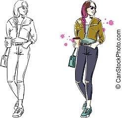ファッション, 通り, 見なさい, イラスト, ベクトル, 偶然