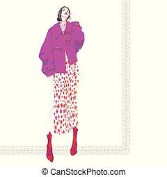 ファッション, illustration., ベクトル