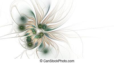 ファンタジー, フラクタル, flower., 美しい, 未来派, 光沢がある, 芸術的, バックグラウンド。