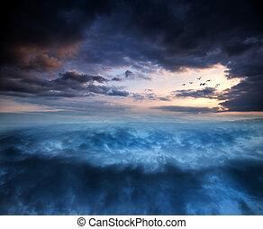 ファンタジー, 上に, skyscape, 超現実的, 渦, 日没, 形成
