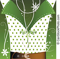 ファンタジー, white-green, 背景, 女性