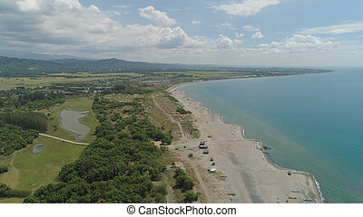 フィリピン。, 風景, 浜, 熱帯 島, luzon