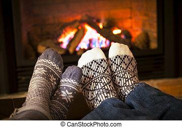 フィート, 暖炉, 暖まること