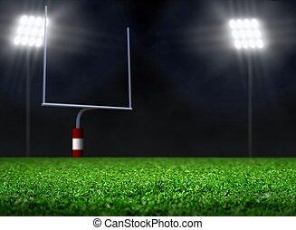 フィールド, フットボール, スポットライト, 空
