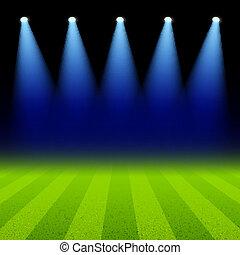 フィールド, 緑, スポットライト, 照らされた