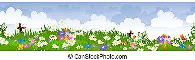 フィールド, 花, ボーダー, seamless