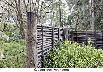 フェンシング, 竹, 木, 庭の日本人