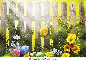 フェンス, 芸術, 春, 卵, 背景, 花, イースター