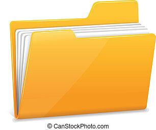 フォルダー, 文書, 黄色, ファイル