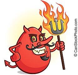 フォーク, 味を付けられた, 燃えている, 特徴, 保有物, ピッチ, 卵, 漫画, 赤