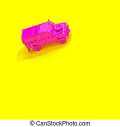 フクシア, 黄色の客貨車, バックグラウンド。, offroad, 4x4