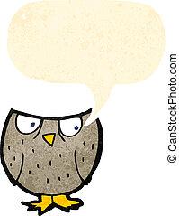 フクロウ, スピーチ, 漫画, 泡