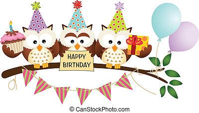 フクロウ, 幸せ, かわいい, birthday, 3