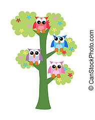 フクロウ, 木, カラフルである, モデル