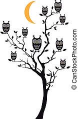 フクロウ, 木, ベクトル, モデル