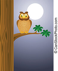 フクロウ, 漫画, 背景, 月