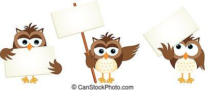 フクロウ, signboards, 3