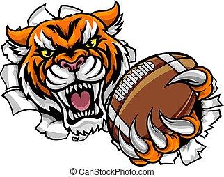 フットボール, 壊れる, tiger, アメリカ人, ボール, 背景