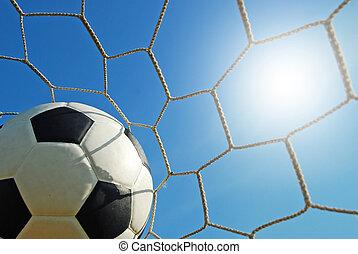 フットボール, 競技場, スポーツ, 青い空, 草, サッカー, 緑のフィールド
