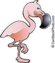 フラミンゴ, イラスト, かわいい, ベクトル, ピンク