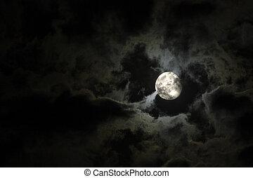フルである, 雲, 不気味, 空, に対して, 月, 黒, 夜, 白